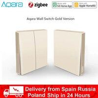 Xiaomi-Interruptor de pared inteligente Aqara D1, interruptor de luz inalámbrico dorado, Zigbee, para casa inteligente, sin trabajo neutro, para aplicación Mi Home