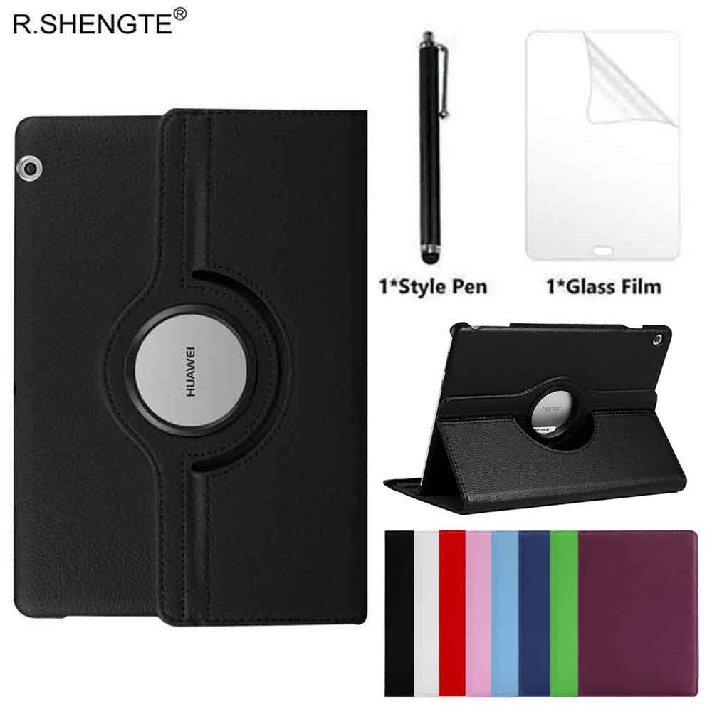 360 Rotating Case for Huawei MediaPad T5 10 Tablet AGS2-W09/L09/L03 10.1'' Case Folio Leather Stand Cover With Style Pen+Film