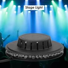 Luz de escenario giratoria de girasol, lámpara de efecto KTV de colores, pequeña, rotativa, 125x125x35mm, 8W, 48LED RGB, cambio automático de Color