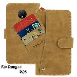 На Алиэкспресс купить чехол для смартфона vintage leather wallet doogee x95 case 6.52дюйм. flip luxury card slots cover magnet phone protective cases bags