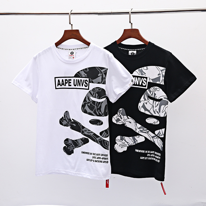 19ss Spring And Summer New Style Skeleton Printed Letter Loose-Fit Couples Large Size Short Sleeve T-shirt Europe And America Wa