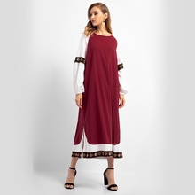 Vintage Embroidered Muslim MAXI Dress Floral Long Sleeve Lantern Sleeve Wine Red White Loose Top Robes Casual Women Dress Autumn frill trim embroidered lantern sleeve dress