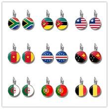 Republika południowej afryki, mozambik, Liberia, kamerun, republika zielonego przylądka, papua-nowa gwinea, algieria, belgia, narodowa flaga portugalii kolczyki dla kobiet