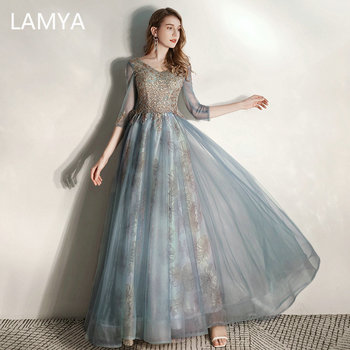 LAMYA Half Sleeve Tulle A Line Evening Party Dress Elegant Lace Appliques Prom Gown Plus Size Golden Sequined Robe De Soiree