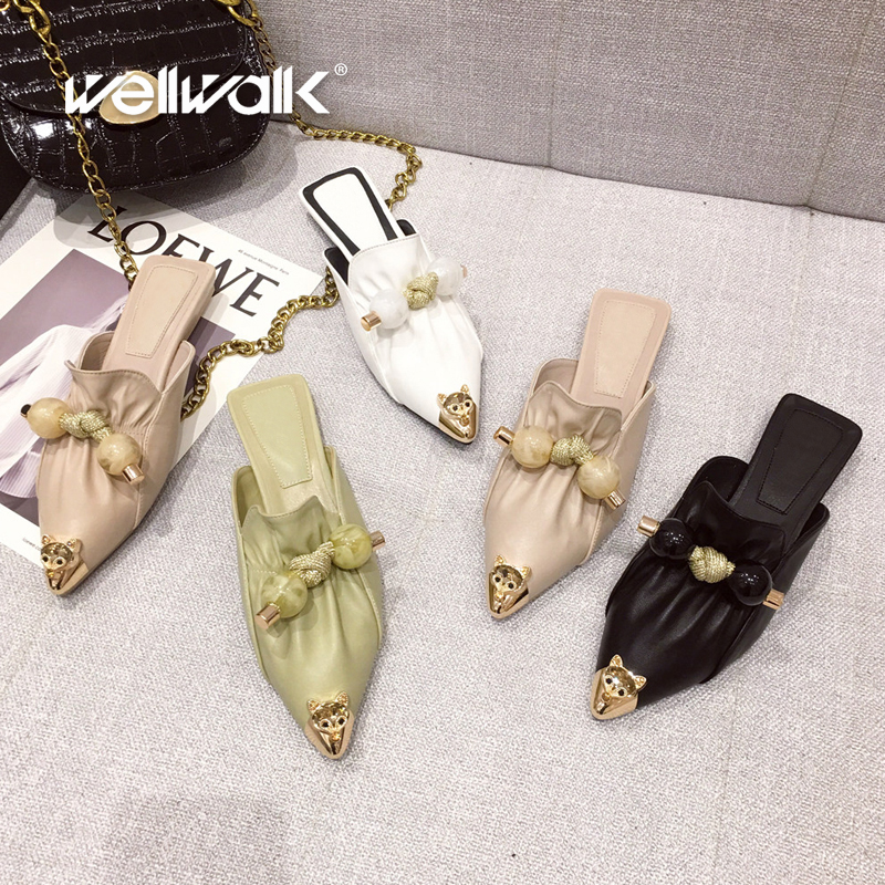 Fashion Mule Slippers Women Flat Shoes Pointed Toe Female Animal Buckle Slides Slip On Dress Loafers Pearl Decoration Shoe Woman