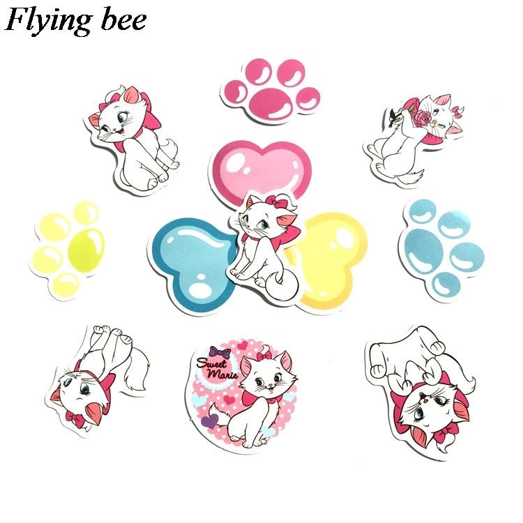 38 Flyingbee 38 יח מארי חתול kawaii אופנה מדבקה מדבקות Pvc רעיונות מדבקה עבור מחברת טלפון נייד DIY אביזרי X0712 (4)
