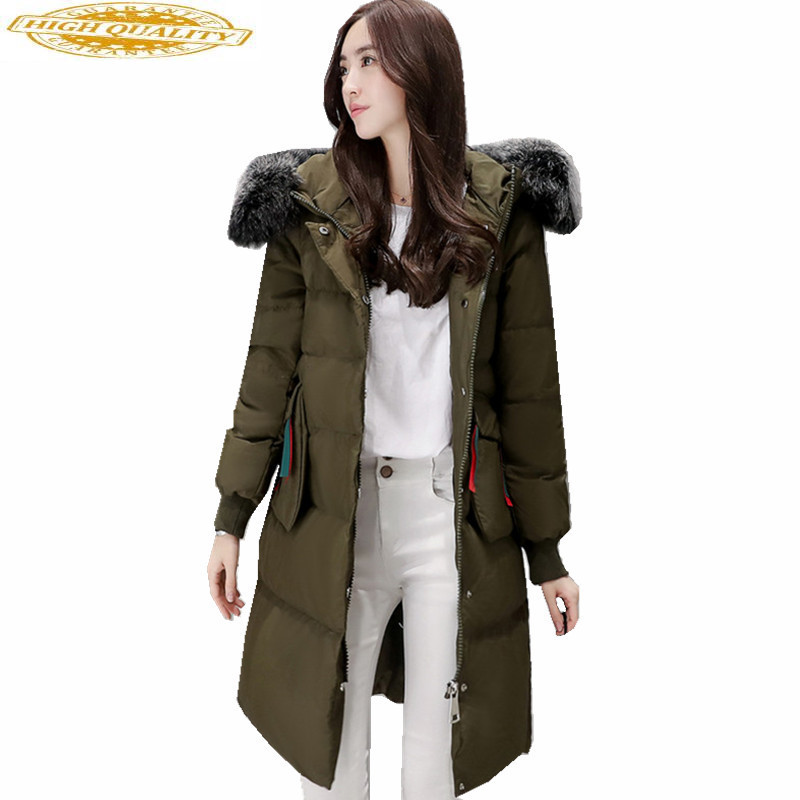 2019 Parka New Style Women's Winter Coat White Duck Down Jacket Women Hooded Artificial Fur Collar Coats Casacos WXF176