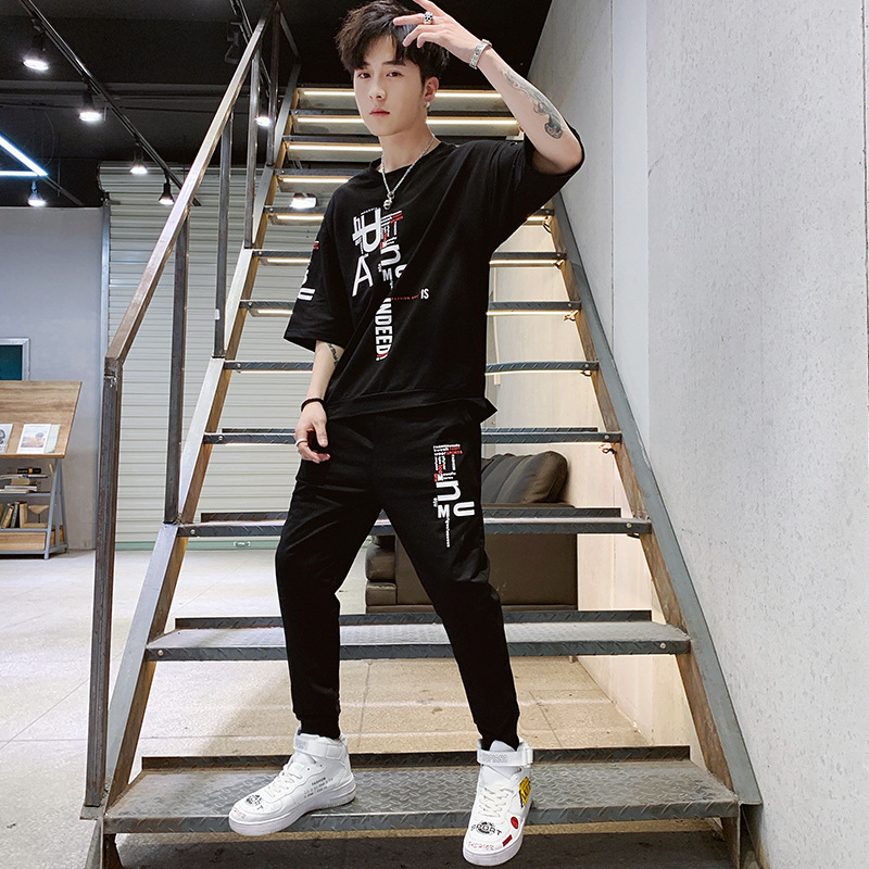 Two Pieces Leisure Suit Short Sleeve MEN'S T-shirt National Trends Handsome 2019 Summer New Style Loose-Fit Sports Hip Hop T-shi