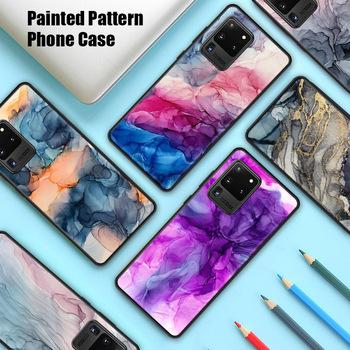Akwarela malarstwo marmur wzór etui do Samsung Galaxy M21 M31 pełna okładka akwarela malowane etui do Samsung M11 M01 tanie i dobre opinie ZSUXTC CN (pochodzenie) Częściowo przysłonięte etui