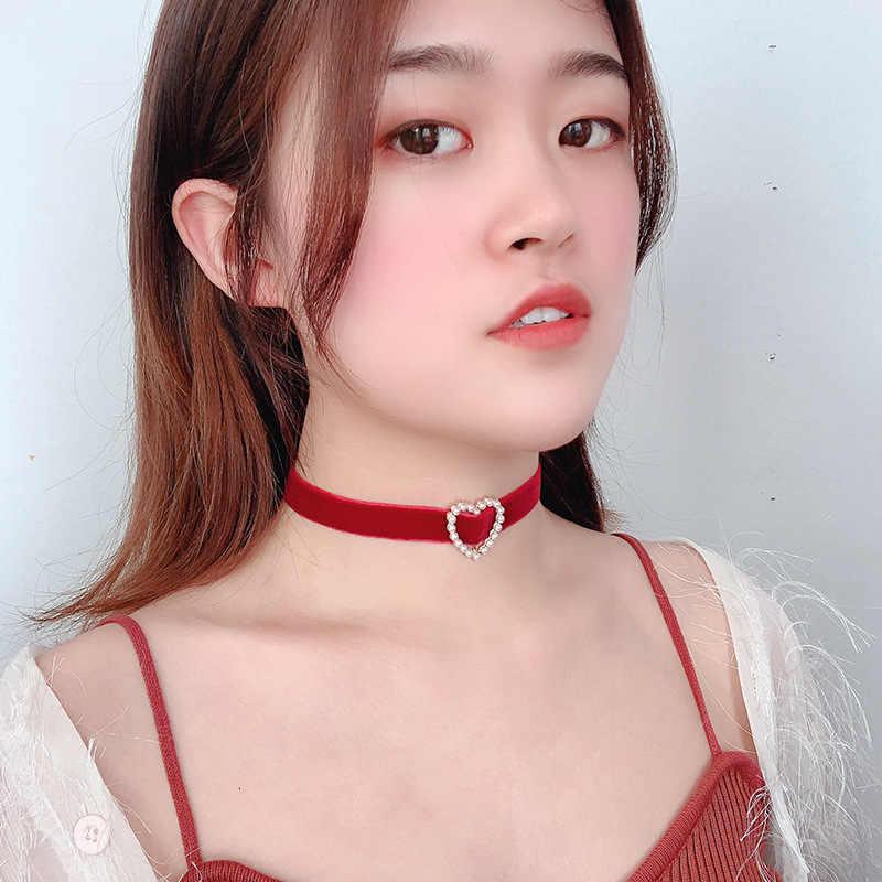 Kore inci gerdanlık kolye kalp aşk kolye dantel kadife kısa klavikula kolye moda takı kız sevimli takı