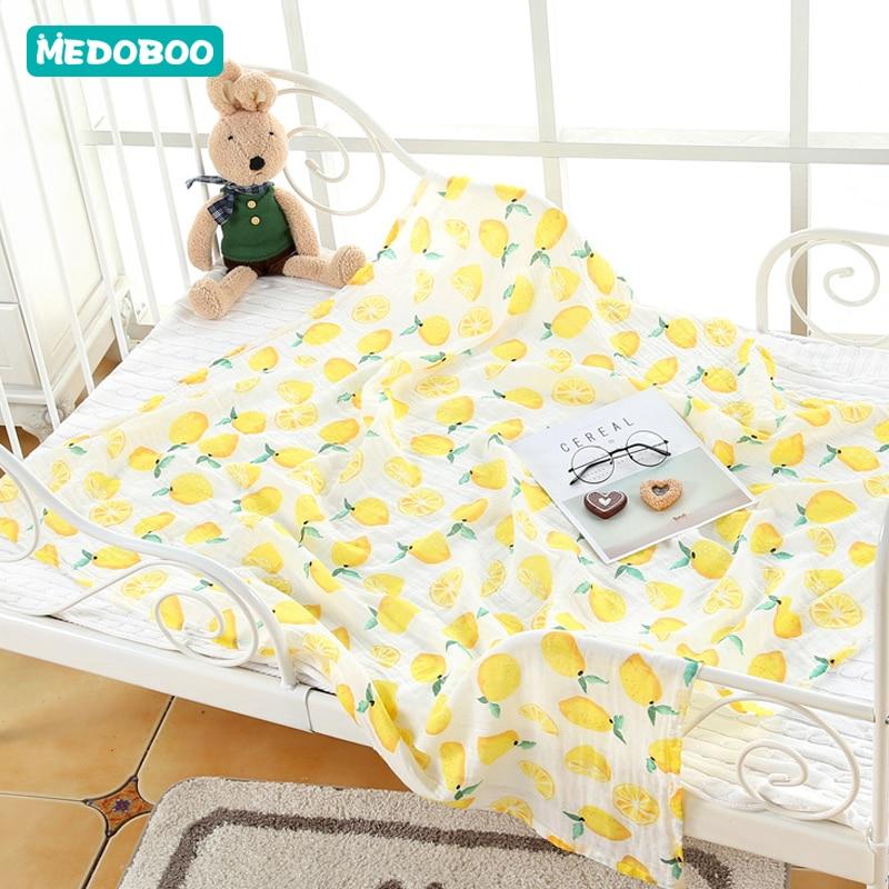 Medoboo 110*110CM Muslin Diapers Baby Blankets Newborn Baby Bath Swaddle Wrap Envelope For Discharge Nurse Breastfeeding Cover