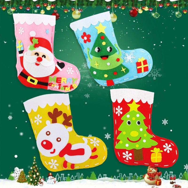 Handicrafts Christmas Socks Hat Kindergarten Children's Toys Crafts Decorate Kids Supplies Gift Bag Girl Boy Educational Toys