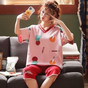 Image 2 - 女性のパジャマセット夏プラスサイズニット綿ナイトウェア女性大サイズ 5XL 半袖パジャマセットやホームウェアパジャマ