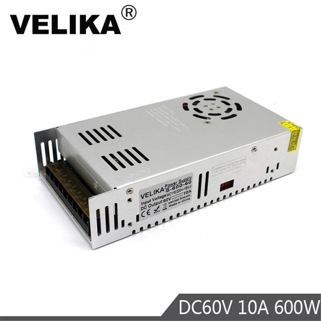Enkele Outpu 60V Dc Voeding 10A 600W Driver Transformers AC110V 220V Naar DC60V Voedingen Smps voor Cnc Cctv 3D Printer
