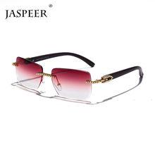 JASPEER Vintage Diamant Rechteck Sonnenbrille Frauen Luxus Strass Randlose Sonnenbrille Männer Gradienten Rahmenlose Damen UV400