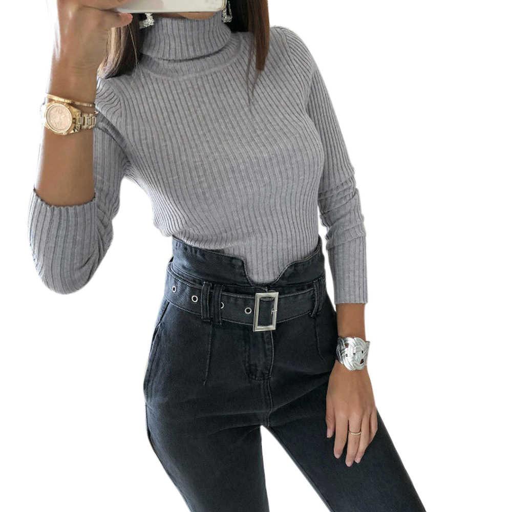 LASPERAL 2019 סוודר נשי סתיו חורף קשמיר סרוג מוצק נשים סוודר סוודר נשי בגד גוף מגשר למשוך Femme