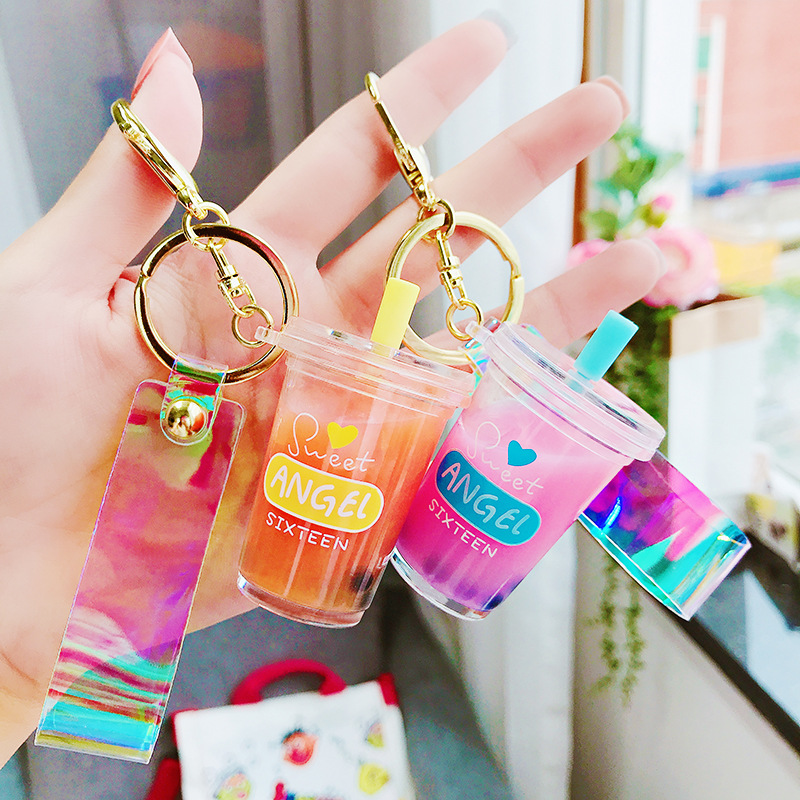Creative Mini Soft Drink Keychain Milk Tea Beverage Bubble Tea Keyring Moving Liquid Oil Drop Decompression Keyfob Jewelry Gift