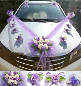 Image 3 - Simple Style PE Rose Wedding Car Decoration Flowers Heart Shaped Wreaths Color Can be Customized