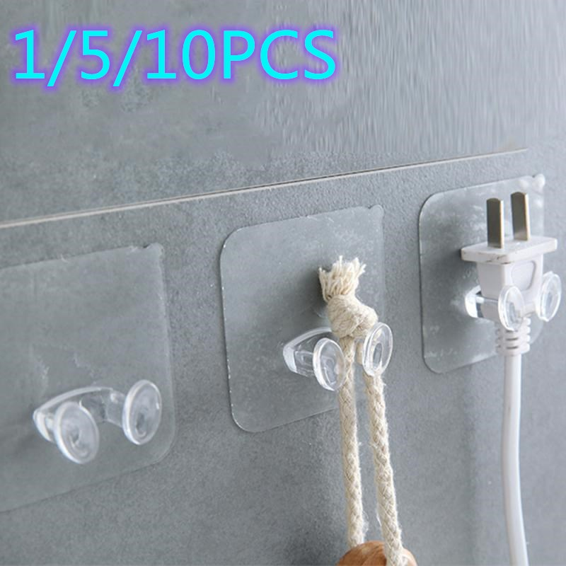 1/5/10/pcs Strong Adhesive Hook Power Plug Socket Hanger Transparent Strong Self Adhesive Door Wall Hanger Bathroom Accessories