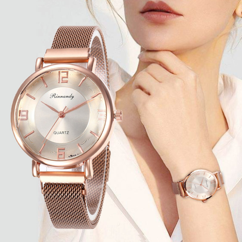 WJ-8568 Simple Stainless Steel Strap Watch Women Magnetic Buckle Casual Mesh Watches Quartz Clock Rose Gold Bracelet Wrist Watch