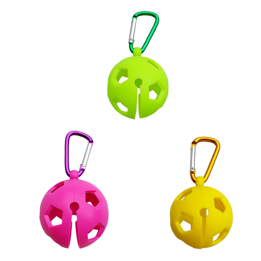 Portable Lightweight Durable Silicone Golf Ball Holder Carrier With Snap Clip Hook For Single Golf Ball Yellow/Green/Rosy
