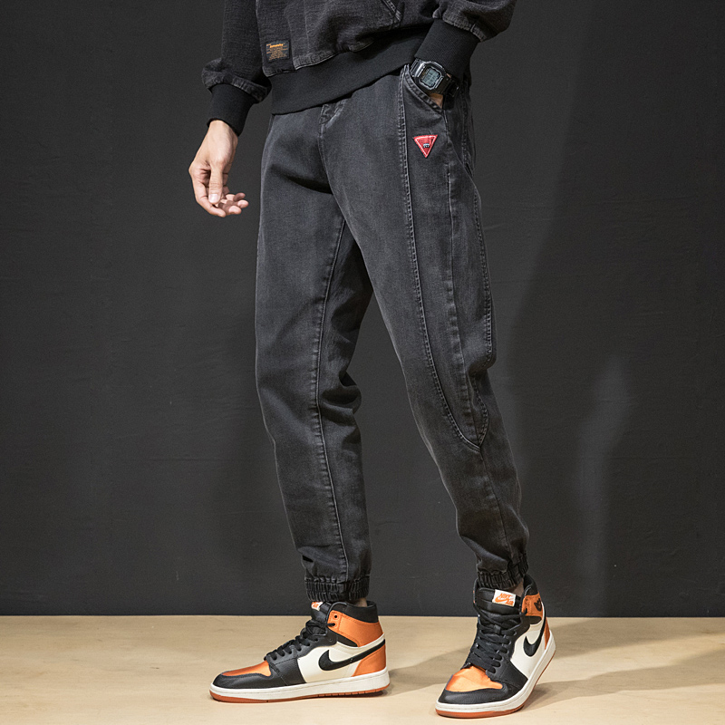 Fashion Streetwear Men Jeans Loose Fit Spliced Designer Denim Cargo Pants Harem Jeans Japanese Style Hip Hop Jeans Men Joggers