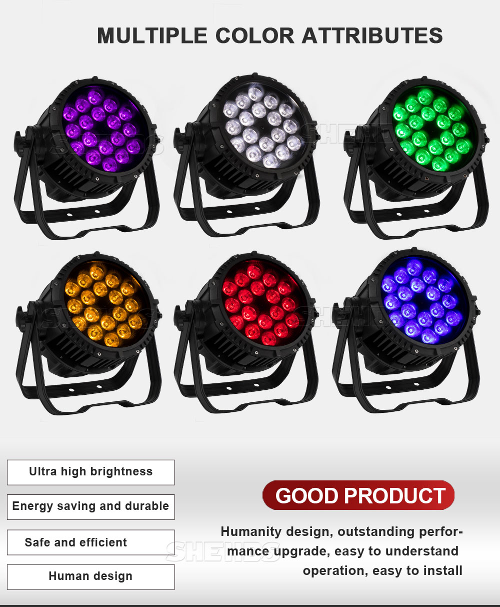 Waterproof Par 18x18W RGBWA UV 6in1 DMX512 Outdoor IP65 LED DMX Stage Lighting Effect For Disco DJ Party Club SHEHDS 18x12W