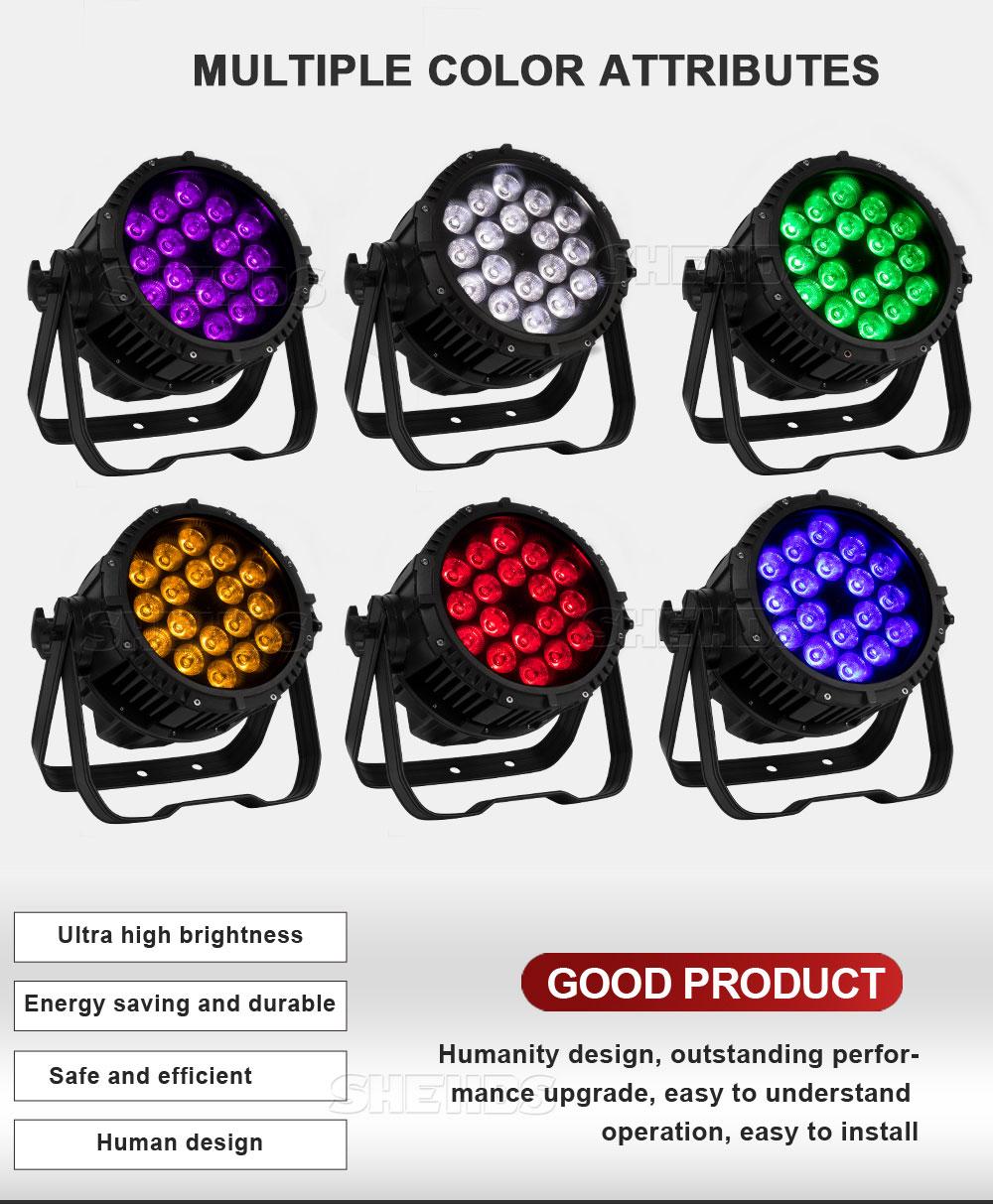 Waterproof Par 18x18W RGBWA UV 6in1 DMX512 Outdoor IP65 LED DMX Stage Lighting Effect For Disco DJ Party Club SHEHDS 18x12W