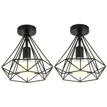 2 шт. потолочный светильник Промышленный клетка в форме бриллианта черная люстра подвеска металлическая железная арматура для кухонного ко...