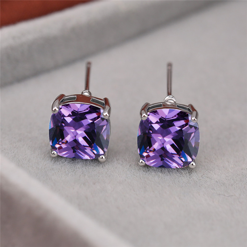 8MM Square Cut Purple Crystal Zircon Stud Earrings Silver Color Engagement Earrings For Women Wedding Jewelry Rainbow Stone