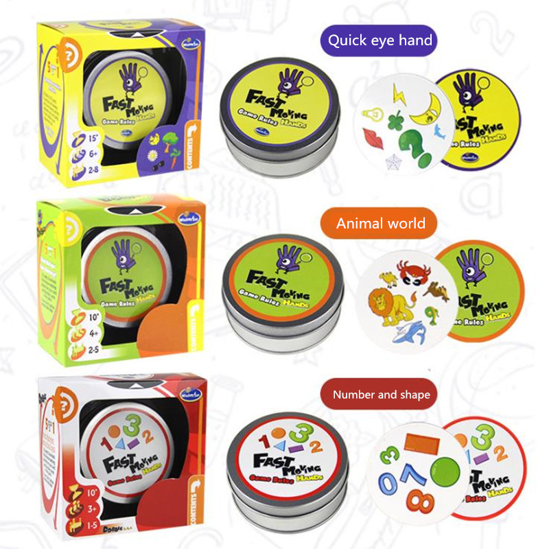 QUINEEOX The Fast Slingpuck Kids Playing Cards Board Games Fast Moving Hands Game Cards toys for Children Home Party Funny Game image