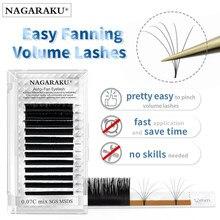 Nagaraku Gemakkelijk Fanning Wimper Extension Zelf Overhandigen Auto Fans Snelle Bloei Bloei Pre-gebonden Volume Make-Up Valse Wimpers