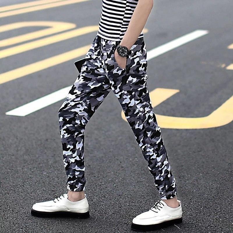 Summer Men Dark Stripes Camouflage Men's Trousers MEN'S Casual Pants Korean-style Slim Fit Harem Pants Beam Leg Quick-Dry Sports