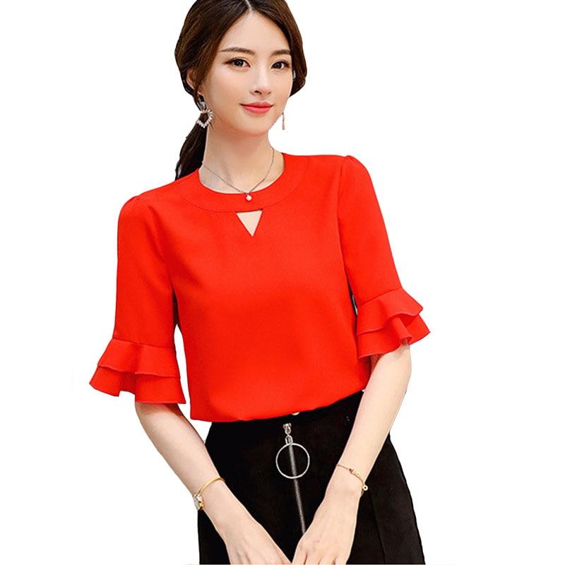 Women Chiffon Blouse Spring Summer Shirt Fashion Ruffles Short Sleeve White Shirts Women Blouses Elegant Office Blusas Mujer Top