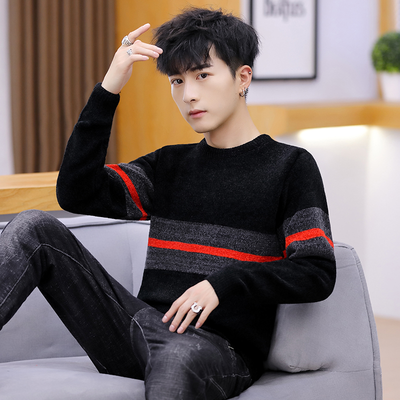 Autumn Winter Fashion Brand Clothing Men Knitted Sweater Thick Stripes Slim Fit Pullover Men 100% Cotton O-Neck Sweaters For Men