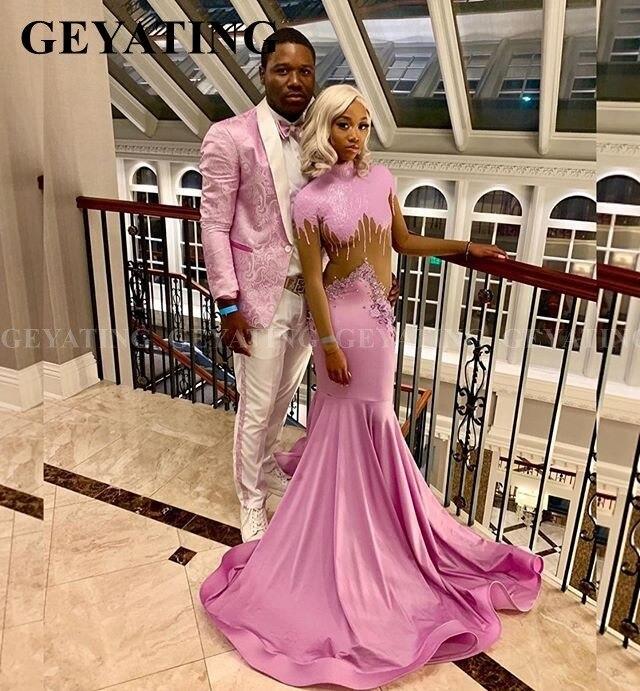 Black Girls Long Sleeve Mermaid Pink Prom Dresses 2020 High Neck Long Train Plus Size African Formal Dress Long Graduation Gowns
