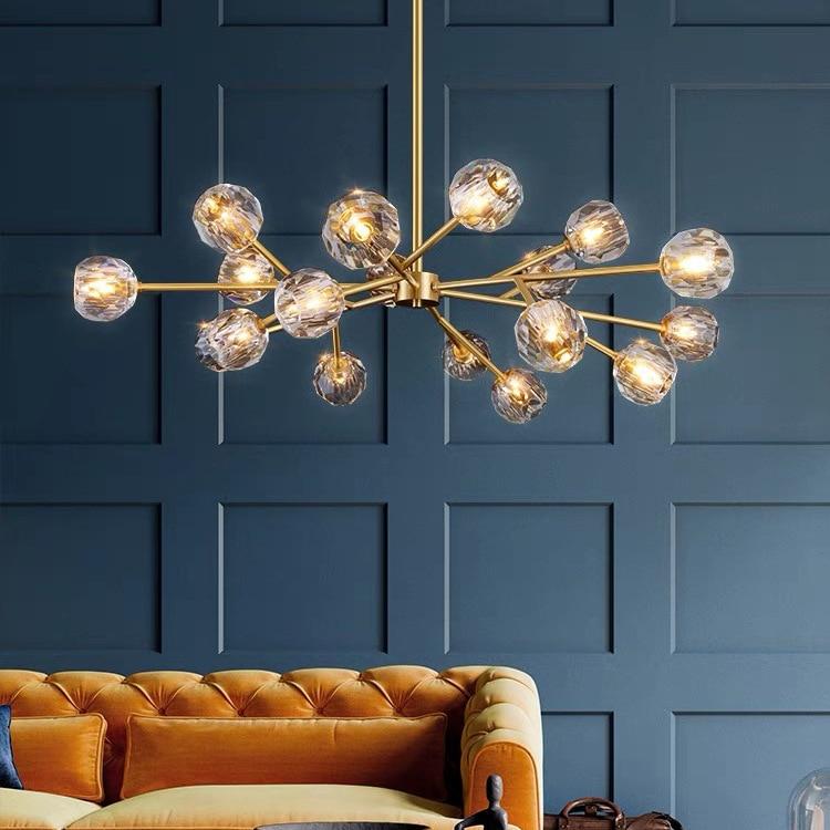 Modern Crystal Living Room Nordic Iron Base Golden Dining Glass Pendant Light