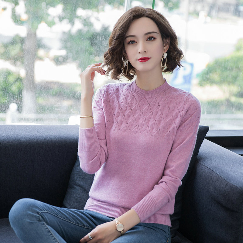 Autumn Woman Elegant Sweater O-neck Pullover Female Light Blue Pink Yellow Pure Colour Wool Blend Knitwear Braided Garment 2019