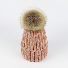 Pom Poms Ball Winter Hat Girls Chenille Skullies Beanie Cap for Women Female Thicken Warm caps Pink Color