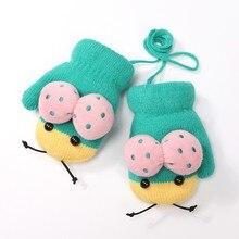 Милые детские перчатки с героями мультфильмов для девочек и мальчиков, вязаные перчатки на все пальцы, варежки, перчатки с помпонами, теплые зимние перчатки для улицы