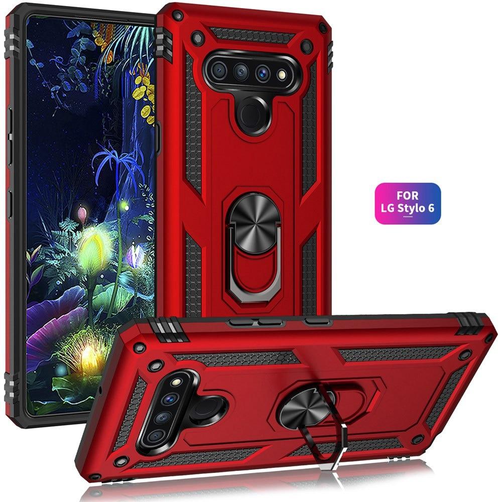 Luxury Armor Phone Case For LG K51 K50S K31 K30 2019 Aristo 3 4 5 Plus Stylo 6 Case Stand Finger Ring Shockproof Full Back Cover