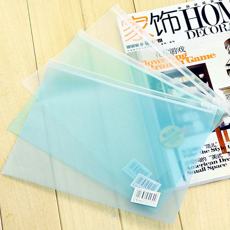 Waterproof Clear Plastic Zipper Bags Mini Document Bag Storage File Folder A5 Stationery Office Student Supplies PP Scrub
