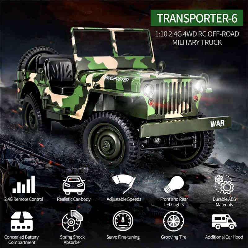 Eachine EC01 2,4G 1/10 4WD RC альпинистский автомобиль джедай транспортер камуфляж военный грузовик RTR RC модель внедорожника игрушки