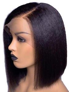 LUFFY Wigs Human-Hair Yaki Deep-Part Brazilian Short Lace-Front Bleached Knots Glueless