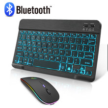 Mini led bluetooth teclado e mouse rgb teclado sem fio com backlight mouse russain ipad teclado para tablet telefone portátil