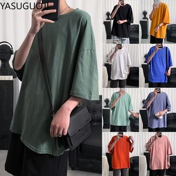 YASUGUOJI Plain Oversized T Shirt Men Bodybuilding and Fitness Loose Casual Lifestyle Wear T-shirt Male Streetwear Hip-Hop Tops 1