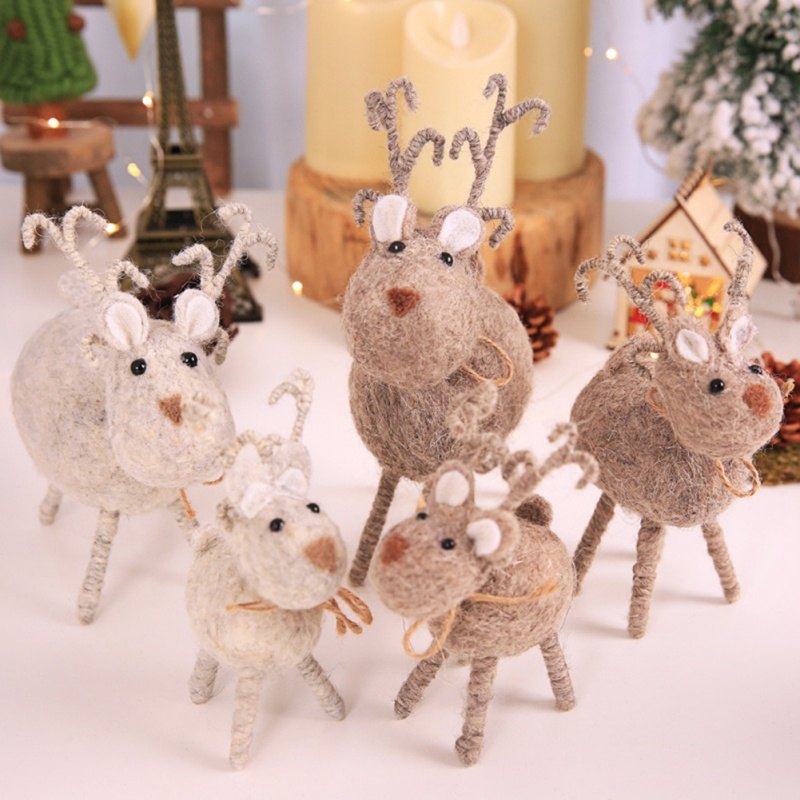 Christmas Creative Wool Felt Handmade Deer Doll Cute Handmade Deer Doll Unique Christmas Decoration Holiday Party Supplies