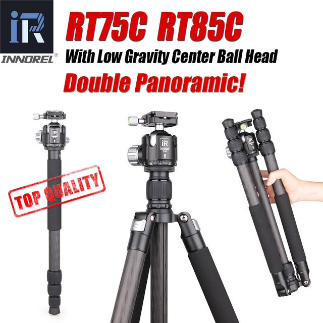 INNOREL RT75C/85C Professional Carbon Fiber Tripod Monopod add 360 Panoramic Low Gravity Center Ballhead For Digital Dslr Camera