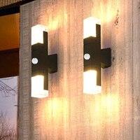 BEIAIDI Outdoor Motion Sensor LED Wall Lamp Waterproof Garden Porch Wall Sconces Villa Hotel Courtyard Aisle Corridor Wall Lamp