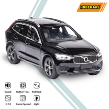 HOBEKARS 1:32 Diecasts Model Car Metal Alloy Toy Vehicles XC60 SUV Pull Back Sound And Light Car Toys For Children Collection 1 32 toy car simulation alloy catapult chariot three in one children sound and light pull back toy racing car ornaments model